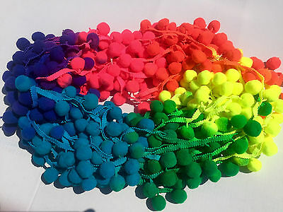 "XL POM POM BOBBLE TRIM FRINGE Multicolored RAINBOW POMPOMS * Ball 2.5cm/1"" By M"