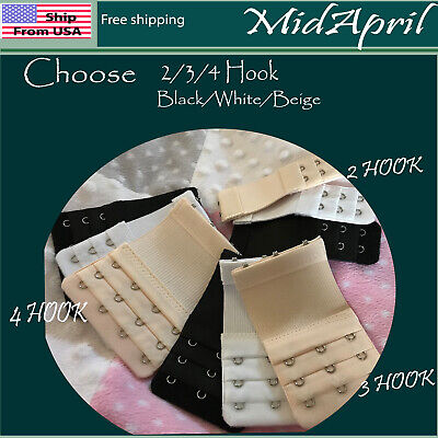 Bra Extenders elastic extra 2 3 4 Hook Black White  beige Extension