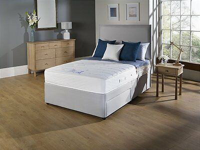 FABRIC GREY DIVAN BED SET  MEMORY MATTRESS + HEADBOARD 3FT 4FT 4FT6 Double 5FT