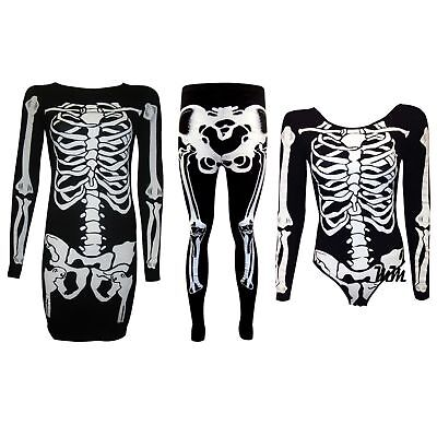 Ladies Womens Plus Size Halloween Skeleton Skull Bones Print Bodycon Dress 8 26