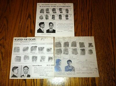 (3) 1930-1940's REWARD WANTED POSTERS/MUGSHOT MASSACHUSETTS STATE PRISON