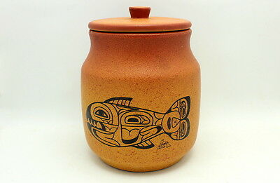 Vintage Blue Mountain Pottery Native Artists Series Lidded Jar Container