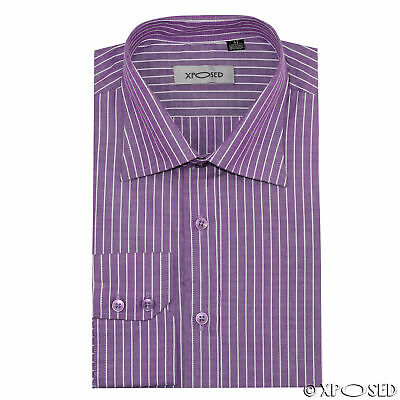 XPOSED New Mens Smart Formal Office Work Long Sleeve Lilac White Stripes Shirt