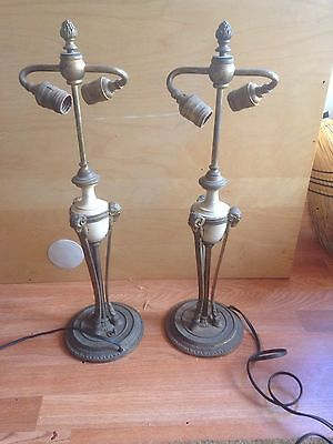 Pair Antique sterling bronze co New York Gilt Metal Table Lamp Art Deco Victoria