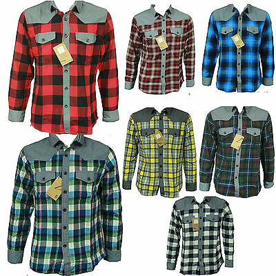 Mens Long Sleeve Flannel Shirt Cotton Check Print Casual Work Smart Lumberjack