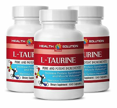 Organic L-Taurine - L-TAURINE 500mg - Increases Blood Flow for the Body - 3 Bot