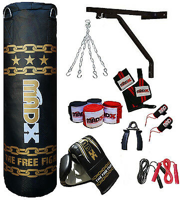 MADX 15 Piece Boxing Set 3ft Filled Heavy Punch Bag Gloves,Chains,Bracket,Kick