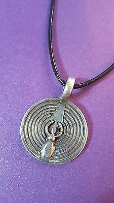 "Goddess of the Labyrinth - Necklace & Pewter Pendant 33"" - 2mm Cord    g2"