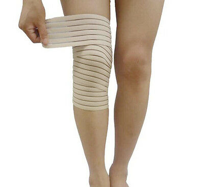 Elasticated Knee Wrap Support Compression Strap Beige Arthritis Medical Fitness