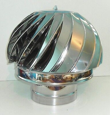 CHIMNEY SPINNER COWL Stainless Steel Spinning Wind Rotating Cap fit 100 to 250mm
