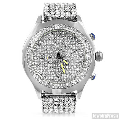 Silver Finish Iced Out Blizzard Mens Hip Hop Watch