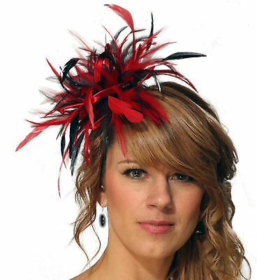 Red & Black Fascinator Hat/choose any other main & highlight feather colour