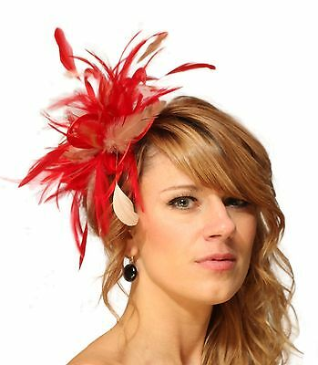 Red & Taupe Nude Fascinator Hat/choose any colour feather or satin