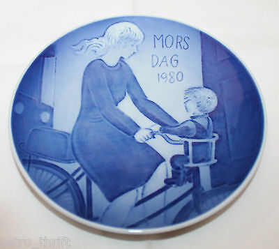 1980 Royal Copenhagen Denmark Mother's Day Plate Blue Denmark Baby Bike White