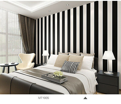 Black and White Classic Wide Stripe Wallpaper - Mix with Vintage - 10m Roll
