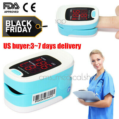 Finger Fingertip Blood Oxygen Meter Pulse Heart Rate Monitor Oximeter+Battery
