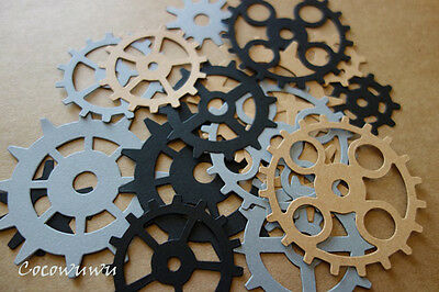 Steampunk Gear Cog Die Cuts x6 Scrapbooking Cardmaking Embellishment