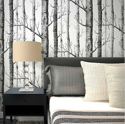 Realistic Forest Tree Wallpaper Birch Tree Branches Black White Woods Wallpaper