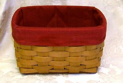 """Longaberger Handmade Basket with Red Wine Cloth Liner 8 1/2"""" x 5 3/4"""" x 6"""""""