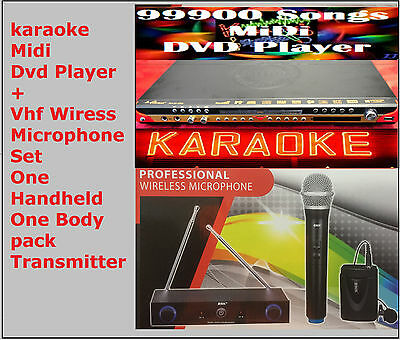 New English Tagalog karaoke Songs MIDI DVD player+VHF Wireless Mic and Body Pack