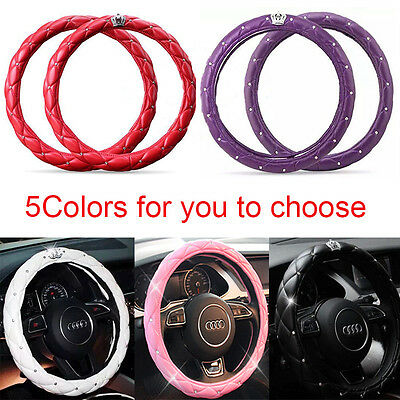 38CM/15'' Universal Cystal Crown PU Leather Diamond Car Steering Wheel Cover New