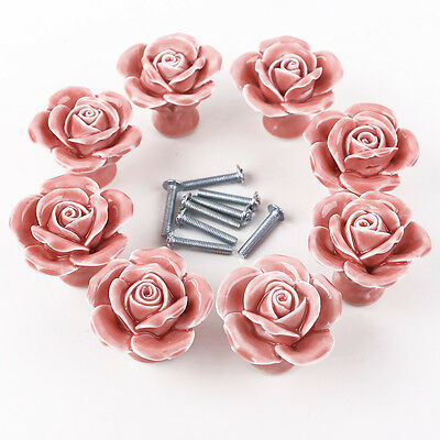 8x Pink Cabinet Drawer Kitchen Handle Vintage Rose Flower Ceramic Door Knob