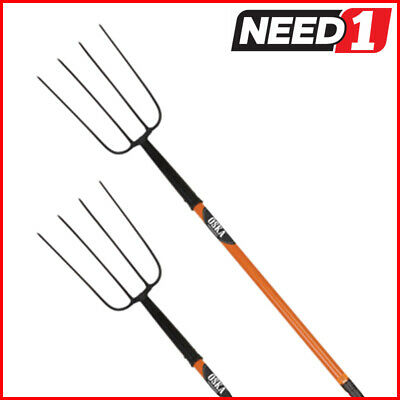 New OSKA 4 Tine Pitch Fork Steel with Long Fiberglass Handle  2 Pack