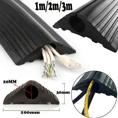 Rubber Floor Cable Wire Cover Tidy Protector Safety Trunking Bumper 1M 2M 3M  UK