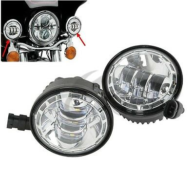 """4-1/2"""" Black LED Auxiliary Spot Fog Passing Lights Lamps For Harley"""