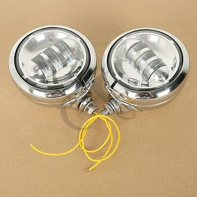 "Chrome 4-1/2"" LED Auxiliary Fog Passing Lights Housing Bucket For Harley Models"