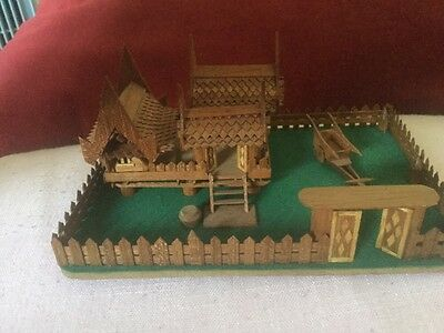 Unusual and Highly Detailed Wooden Model of Oriental Temple and Dwellings