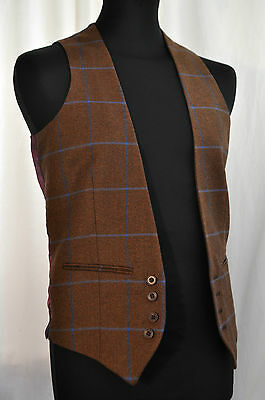 Vintage brown check wool waistcoat size X small gents country classic