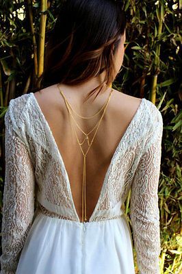 Gold Draped Crystal Back Chain Necklace Event Party Beach Holiday Uk Seller 172