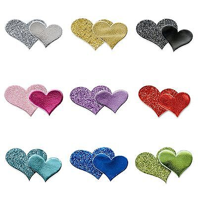 Pack 12 Double Glitter Hearts Self Adhesive Wedding Favour Box Craft Decoration
