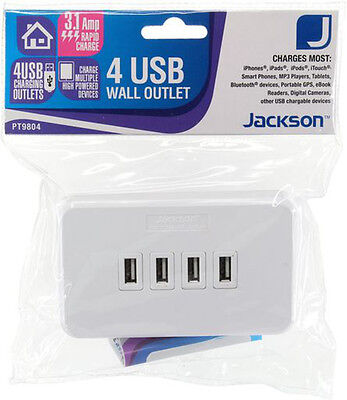 4 Outlet Socket Usb Charging Wall Plate Wallplate White 3.1A Replaces Powerpoint
