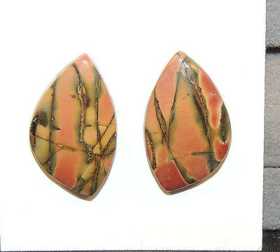 Painted Creek Jasper Cabochons 22x13mm with 4mm dome set of 2 (10910)