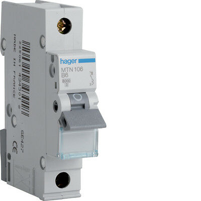 HAGER MCB MTN ALL AMP TYPES SP MCB Circuit Breaker B TYPE  - **FREE P&P**