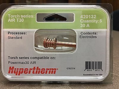 Genuine Hypertherm 420132 AIR T30 Electrodes 30A Powermax 30 Plasma (5 Pack)
