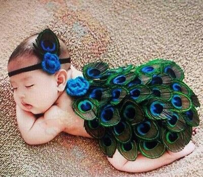 Newborn Infant Baby Photo Costume Stage Prop Outfit Peacock Headband Set