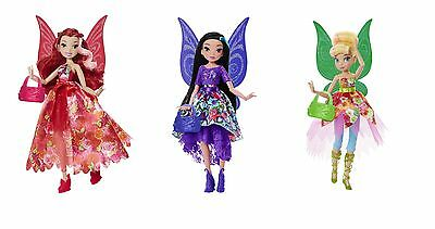 "Disney Fairies 9"" Deluxe Fashion Doll Pixie Prints Tinkerbell Rosetta Silvermist"