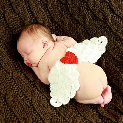 Newborn Infant Baby Crochet Knit Photo Photography Costume Prop Angel Wings Love