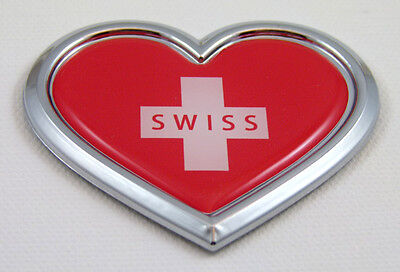 Switzerland HEART Flag Chrome Emblem Car Decal 3D Sticker Badge Bumper Swiss