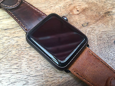Vintage Genuine Leather Watch Strap Band for Apple Watch Black Connectors 42mm