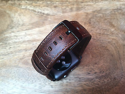 Quality Vintage Coffee Leather Watch Strap Band for Apple Watch Iwatch 42mm UK