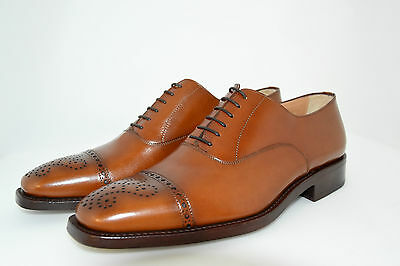 MAN-7½eu-8½usa-OXFORD CAPTOE-FRANCESINA-COGNAC CALF-VITELLO-LTH SOLE-SUOLA CUOIO