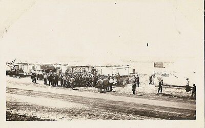 Early 1900's RPPC Stoneboro PA Harley Davidson & Indian Motorcycle Race BANNER