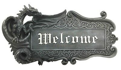"Gothic Dungeon Dragon Guarding Relic Welcome Sign Wall Mount Sculpture 15"" Long"