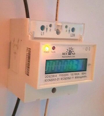 120/240V Electric KWh Meter 50/60hz Up to 100Amps Single Phase DIN-rail Type.