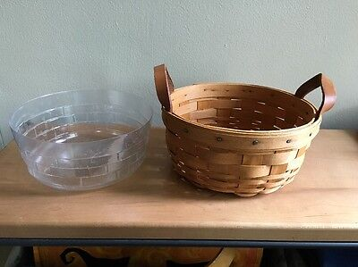 Longaberger 1993 Classic Brown Button Basket with Protector