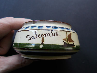 VINTAGE SALCOMBE SIGNED DEVON/TORQUAY MOTTO WARE SUGAR BOWL(ref44.2}